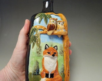 red fox and owls bottle vase ceramic hand crafted conversation piece Anita Reay flask