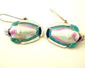 Reserved: Enamel Fish Earrings - Sterling Silver - Vermeil - Vintage