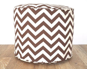 Brown chevron floor pouf, geometric bean bag seating , brown pouffe fall colors, Christmas gift for her