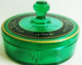Emerald Green Powder Box - Dusting Powder Glass Box