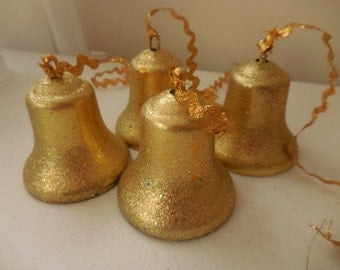 4 Gold Glittered Bradford Christmas Bells