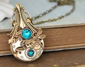 steampunk necklace, petite Art Deco, steampunk jewelry, antiqued brass  vintage watch movement with rhinestones
