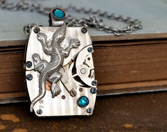 steampunk necklace, IN THE MIST, antique silver watch movement necklace with small lizard charm