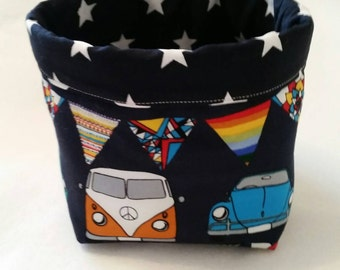 Campervan/beetle style cars with bunting fabric bits & bobs Storage basket/box/tub