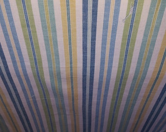 STRIPE Shades Of BLUE Yellow GREEN White Woven Cotton Upholstery Fabric, 20-24-24-1115