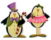 Dancing Penguin Ornament, Mr. and/or Mrs., Handpainted Wood, Hand Painted Christmas Ornament, Tole Decorative Painting