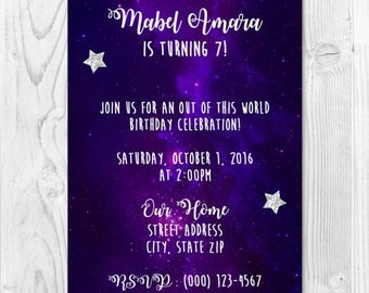 Galaxy Birthday Party Printable Invitation 4x6 or 5x7