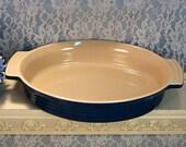 Le Creuset Dark Blue Stonewear Oval Handled Au Gratin Casserole, Vintage Kitchen Cookware, Kitchen Bakeware, Kitchen Collectibla