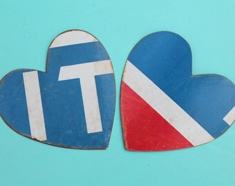 hand cut metal hearts red, white and blue metal for mixed media, altered art, collage, steampunk, jewelry