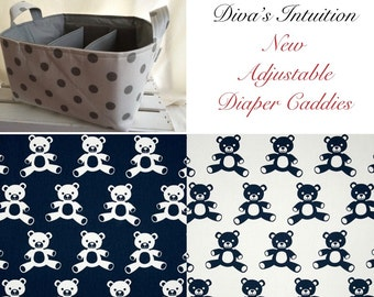Diaper Caddy, Baby caddy, baby organizer, toy storage, Teddy Fabric Basket bin with adjustable and removable dividers Navy