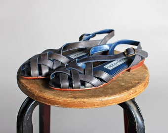 Vintage Navy Leather Strappy Summer Sandals- Blue Braided Flats Huaraches Summer Shoe Casual Loafers Flat  - Size 7 1/2
