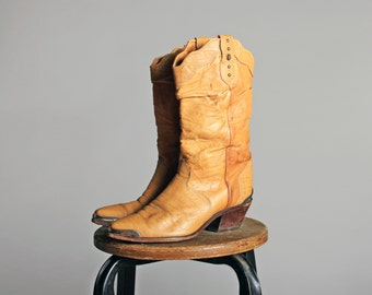 Vintage Tan Banana Leather Western Boots- Pointed Toe Cowgirl Cowboy  Zodiac Slouch Heel  Ankle Boot- Size 7 1/2