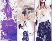 Gypsy Ruffled skirt, Boho high low summer skirt, Bohemian Music festival clothing, Coachella, Festival trends 2016, True rebel clothing MED
