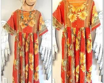 Labor Day Sale Vintage Maxi dress, Music Festival clothing, boho clothing, 90's grunge sunflower dress, hippie clothing, true rebel clothing