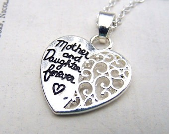 Gift for Mom Mother Daughter Necklace Silver Mom Jewelry  Daughter Gift Mom and Me Gift for Her