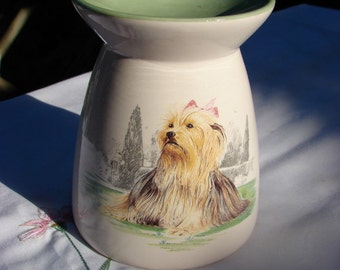 Beautiful Little Yorkie!! Ceramic Tea Light Tart Burner