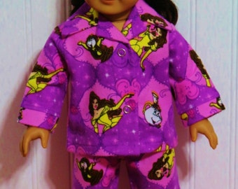 BEAUTY and the BEAST flannel pajamas fit 18inch Dolls - Proudly Made in America by mamastwinsees