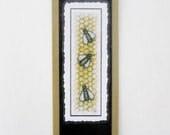 Bookmark Bees  -  Hand made from artist Original Watercolor Print - Honeycomb - Laminated