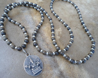 108 Bead Mala Beads Ganesh Long Mala Necklace Ganesha Om Charm Prayer Bead Necklace Natural Grey wood Mala Yoga Necklace Yoga Jewelry Hindu