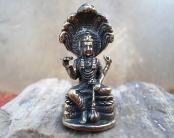 VISHNU Statue Tiny Brass Vishnu Portable Meditation Altar Statue Tiny Hindu Deity God of Creation Vishnu Statuette Pocket Deity Travel Altar
