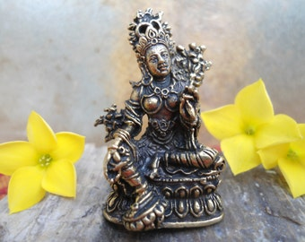 TARA Statue Tiny Brass Green Tara Statue  Buddhist Bodhisattva Goddess Statuette Pocket Deity Travel Altar Buddhist Shrine Statuette Goddess