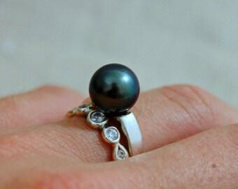 Keren - Diamond Alternative engagement ring, CUSTOM ORDER ring, Tahitian pearl, promise ring, wedding ring, statement ring, pearl jewelry
