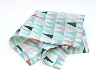 Pocket Square for Men - Green and Grey Triangle Print - Green Grey Coral Ivory Cream White Kerchief Hankie Handkerchief mens pocket squares
