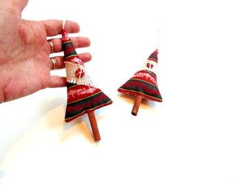 Christmas ornaments, cinnamon trees, tree sachet ornaments, Balsam fir pine and cinnamon chips, holiday sachets, tree trimming