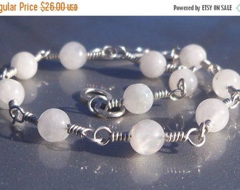 20% OFF 9 Inch Rainbow Moonstone Gemstone Argentium Sterling Silver Wire Wrapped Bracelet