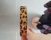 Custom cuff - bracelet - personalized by Farmgirl Paints -furry textured leopard print leather cuff END PIECE W/ HOLES