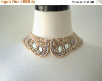 Vintage 1950s Beaded Collar Pearl Beaded Collar Collar Necklace Beaded Choker 1950s Sweater Collar with Rhinestones Off White