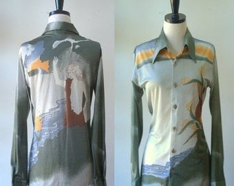 Vintage 1970s Blouse Womens Blouse Olive Green Top Button Up Top Hippie Clothes Hippie Blouse Greek Goddess Graphic Printed Top Size Small
