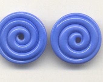 Tom's lampwork opaque dark periwinkle blue 2 disc spacer/drops set, 1 pair 96220