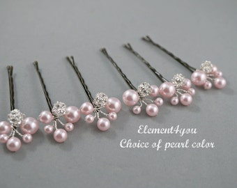 Bridal ivory hair pins, Wedding accessories, Bridesmaid gifts, Clustered pins, Chignon hair decor, Wedding hair up do, Hair bun clips