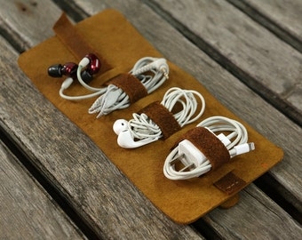 Leather cord wrap Leather cord cable organizer cord roll holder / Leather travel cord organizer / Leather cord ties - CO05WR