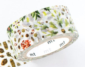 mt 2015 Xmas Japanese Washi Masking Tape -Plant Patterns 20mm wide for Holiday packaging, party deco, crafting