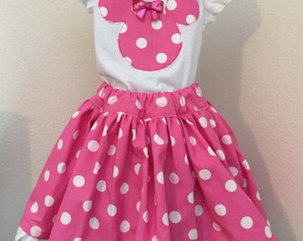 Minnie Mouse's candy pink girls' twirly skirt & shirt set, perfect for Disney, Disney Cruise, photos, parties