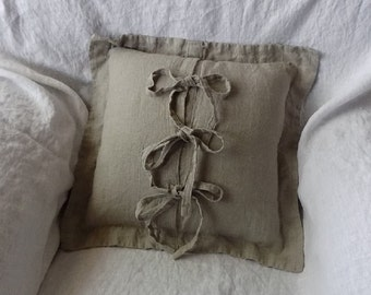 Handmade Flanged Linen Pillow Cover / Throw Pillow Cover / Cushion Case / Accent Pillow --- Envelope Closure with Three Ties