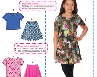 Tween Girl's Stretch Knit Top and Skirt Pattern, A Learn to Sew Pattern, Girls' Easy Skirt and Top Pattern, McCall's Sewing Pattern 7462