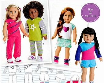 American Girl Doll Clothes Pattern, 18 inch Doll Clothes Pattern, Simplicity Sewing Pattern 8042