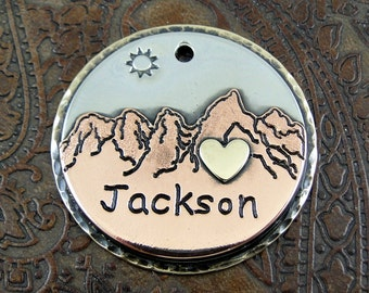 Grand Tetons-Custom Dog ID Tag - Mountains