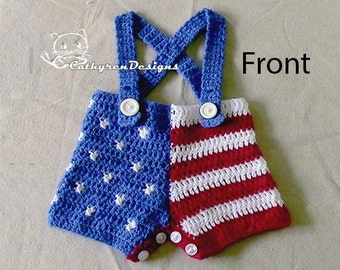 Baby Boy USA Star and Stripe Flag Shorts with Shoulder Straps-INSTANT DOWNLOAD Crochet Pattern
