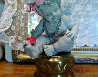 French Cherub - Nordic Decor - Ornate Cherub - Angel Crown - Santos Cherub - French Farmhouse Home Decor