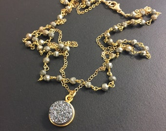 Layered Pyrite and Druzy Necklace