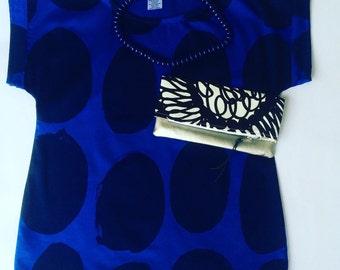 Womens Blue Top made from Marimekko Koppelo Fabric , Blue Spots