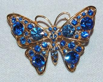 Vintage / Butterfly / Rhinestone / Blue / Gold Tone / Brooch / old jewelry / jewellery