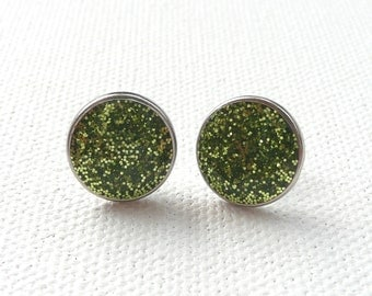 Small Sparkly Green Round Stud Earrings