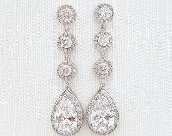 Long Bridal Earrings Wedding Jewelry Crystal Wedding Earrings Silver Cubic Zirconia Posts Large Teardrop Earrings, Cristle