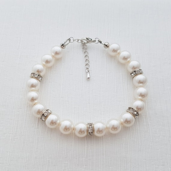 Pearl Bridal Bracelet, Rhinestone Pearl Bracelet, Bridal Jewelry, Swarovski Pearls, Wedding Bracelet, Pearl Bridesmaid Bracelet, Cora