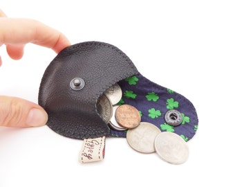 Men's Coin Pouch in Black Leather and Recycled Tie Silk / Mini Gypsy Guys Coin Purse for Men / Irish / Shamrock Print